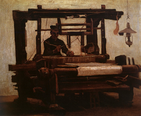 Vincent van Gogh. Weaver at the machine (front view)