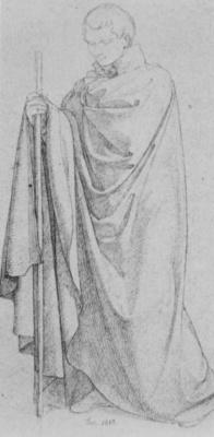 Иоганн Фридрих Овербек. Мужская фигура в белом плаще