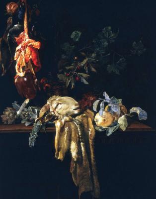 Willem van Aelst. Still life with RAM's head