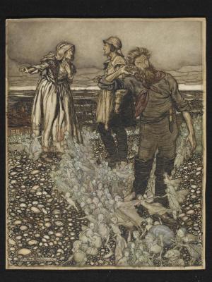 Arthur Rackham. Widget Witheft and her sons