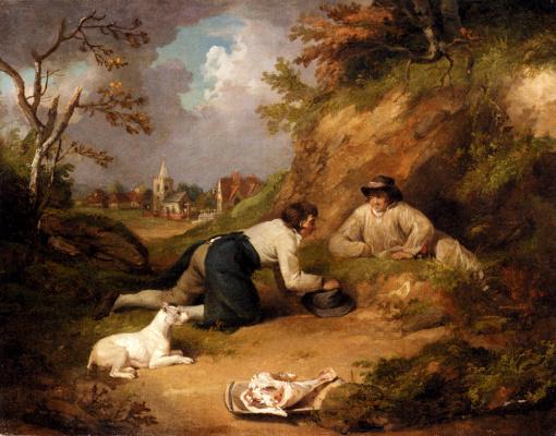 Джордж Морленд. Двое мужчин со своей собакой в деревне