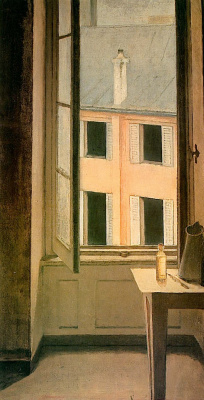 Balthus (Balthasar Klossovsky de Rola). Swinging open window, Cours de Rohan, Paris