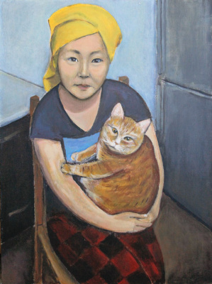 Indira Baldano. Erzhena with a cat