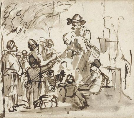 Карел Фабрициус. Пожилая пара раздает детям на улице милостыню. Этюд