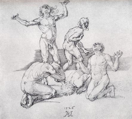 Albrecht Durer. Five Nude male figures