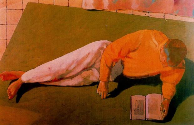 Марко Манцелла. Лежащий мужчина с книгой