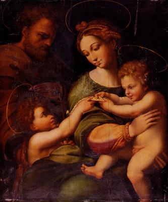 Raphael Sanzio. Holy family with John the Baptist