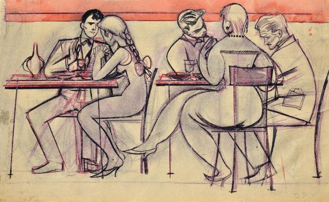 Victor Ivanovich Zaretsky. In a cafe