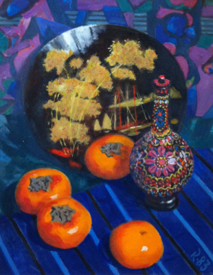 Osip Borisovich Krivoglaz. Still life with persimmon