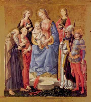 Франческо ди Стефано Пезеллино. Мария с младенцем и шестью святыми