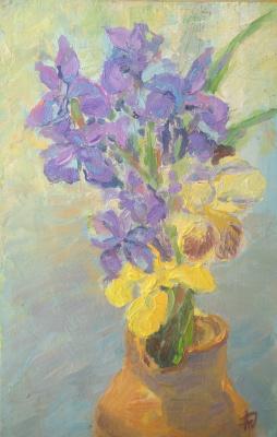 "Anna Valerievna Dolganova. ""Irises in a clay jug"""