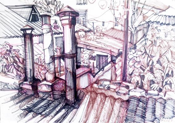 "Elena Vladimirovna Chmel. ""Roofs of Courts"" sketch"