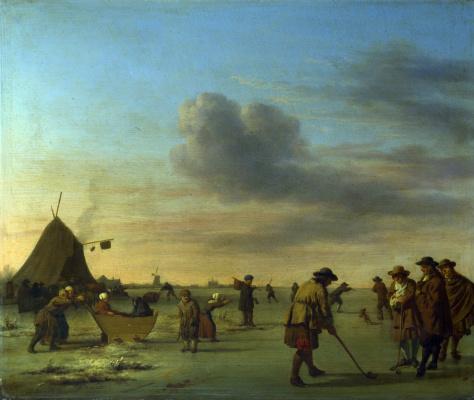 Adrian van de Velde. Golfers on the ice near Haarlem