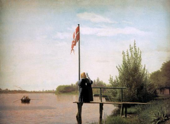 Кристен Кобк. Вид Норребро на озере Сортидам
