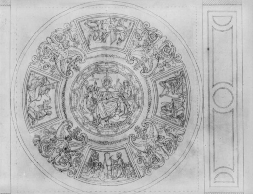 Peter von Cornelius. The sketch to the painting of the Loggia at the Alte Pinakothek in Munich, the dome: a Union of religions