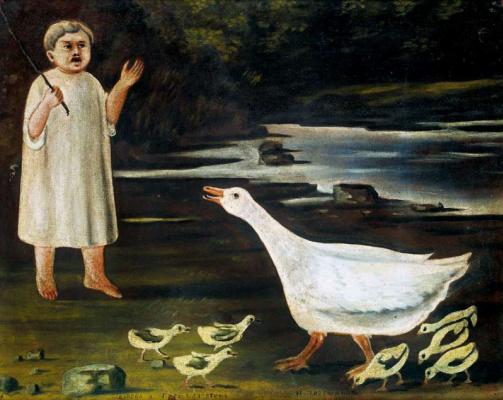 Niko Pirosmani (Pirosmanashvili). A girl and a goose with goslings