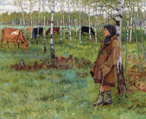Nikolay Petrovich Bogdanov-Belsky. Daydreaming among the birches
