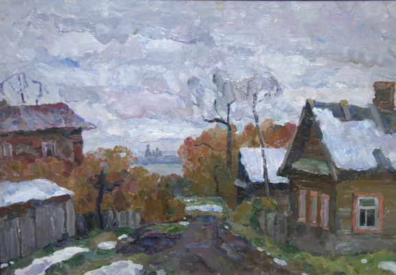 Boris Petrovich Zakharov. Early snow in Rostov the Great. Etude.
