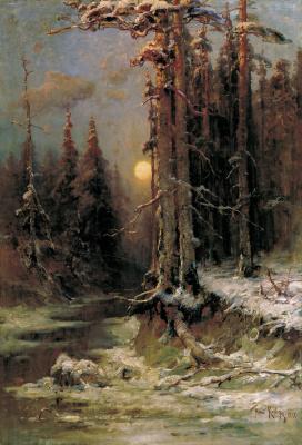 The sunset winter (Winter evening)