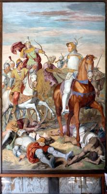 Johann Friedrich Overbeck. The frescoes of the villa Massimo, Tasso Hall: Armida dressed as an archer and Rinaldo