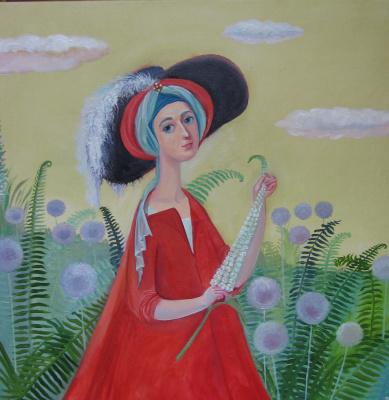 Olga Gennadievna Kravtsova-Motspan. A walk in the garden.