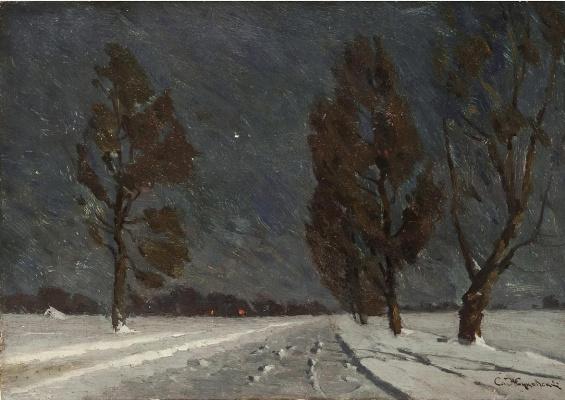 Stanislav Yulianovich Zhukovsky. Night. Winter road
