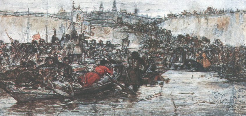 Vasily Ivanovich Surikov. The Conquest Of Siberia By Yermak. A sketch of the composition