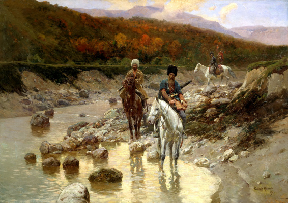 Franz Alekseevich Roubaud. The Cossacks near a mountain river