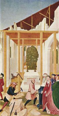 Рюланд Фрюауф Младший. Алтарь св. Леопольда, боковая створка: постройка монастырской церкви