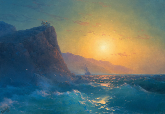 Ivan Constantinovich Aivazovski. View of a steep, rocky coast and a rough sea at sunset