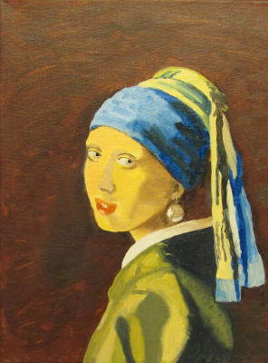 Artashes Vladimirovich Badalyan. Vermeer. Girl with a pearl earring (copy) - hm - 40x30