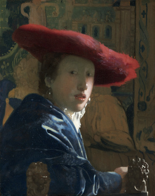 Jan Vermeer. A woman in a red hat