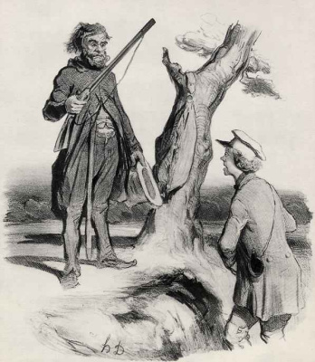 """Honore Daumier. Constrained position: """"a Poor father of a family asked for a little charity."""""""
