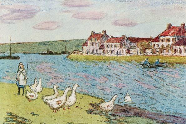 Alfred Sisley. Geese