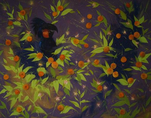 Dmitry Nikolayevich Pashkov. Parrot on grapefruit tree