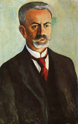 August Macke. Portrait of a man with a mustache