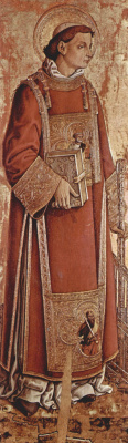 Carlo Crivelli. Saint Lawrence. The altar of the Church of San Silvestro at Massa Fermanagh, inner left Board