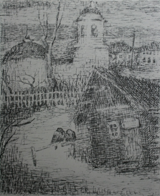 "Anatoly Kaplan L.. ""Rain"" 1928 pen, ink"