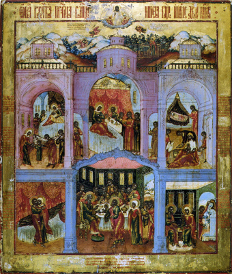 Icon Painting. Nativity of the Virgin with scenes from the life (Nevyansk)