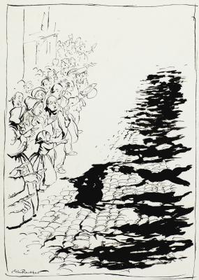 """Артур Рэкхэм. Иллюстрация к сказке Г. Х. Андерсена """"Новое платье короля"""""""