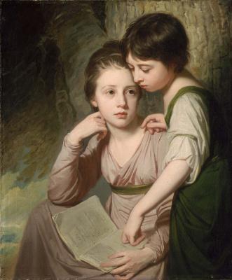 George Romney. Portrait of two girls. Elizabeth and Sofia Cumberland