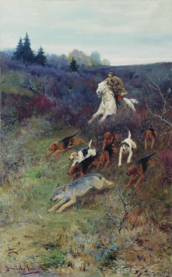 Alexey Stepanovich Stepanov. The wolf with hounds
