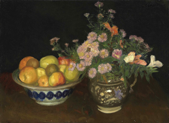 Джордж Клаузен. Керамический кувшин с цветами и миска с фруктами