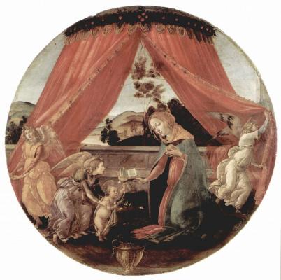 Сандро Боттичелли. Мадонна дель Падильоне, сцена: Мария с младенцем Христом и тремя ангелами, тондо