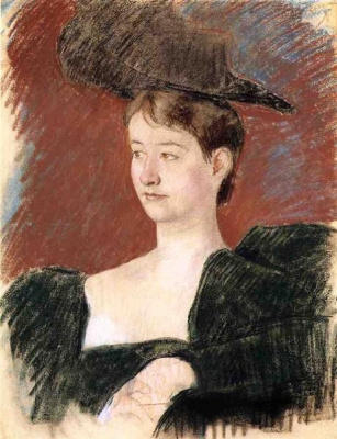 Mary Cassatt. Portrait of young woman in green
