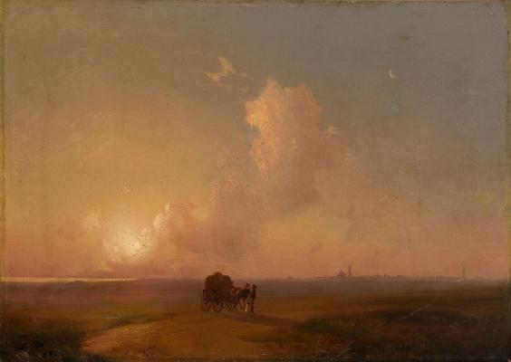 Иван Константинович Айвазовский. Верблюжья повозка на закате на фоне морского пейзажа