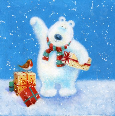 Джен Пэшли. Медведь в шарфе с подарками