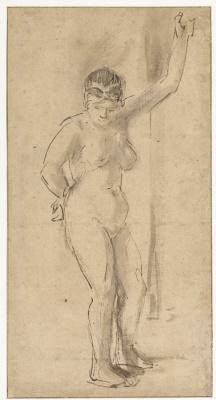 Арт Йоханс де Гелдер. Стоящая обнаженная натурщица с поднятой рукой
