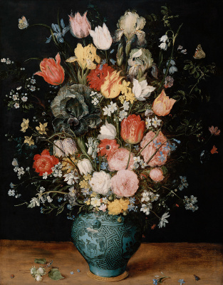 Jan Bruegel The Elder. Bouquet of flowers in a blue vase