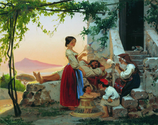 Fedor Andreevich Bronnikov 1827-1902 Russia. In the family circle. 1856.